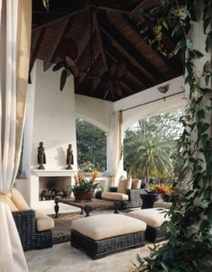 Gazebo - black rattan furniture with cream cushions create a nice outdoor living room - beautiful fireplace and ceiling Living Room Drapes, Chic Living Room, Living Room Lighting, Living Room Modern, Living Room Designs, Living Spaces, Cozy Living, Home Design, Outdoor Rooms