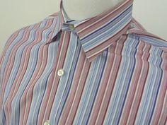 Austin Reed London  Button Front Dress Shirt Blue/white/Pink Stripes Large #austinreedlondon