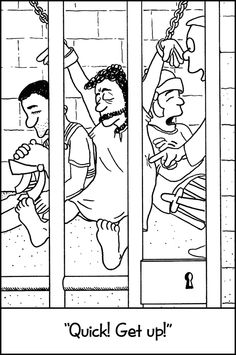 Coloring pages peter in prison coloring page for Peter and john in jail coloring page