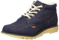 Kickers Kick Hi Denim Textile, Af, Dk Blue, Bottes Classiques femme
