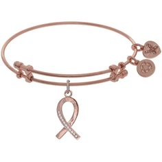 7.25 Adjustable Pink Finish Brass CZ Breast Cancer Charm Angelica... ($32) ❤ liked on Polyvore featuring jewelry, bracelets, bangle bracelet, charm bangles, bracelets bangle, pink bangle bracelet and hinged bracelet