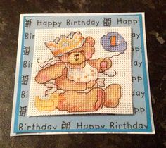 Cross stitch 1st birthday card