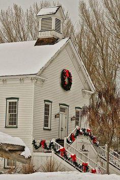 country christmas church Looks like Little House on the Prairie