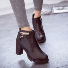 Wow! High-heeled Zipper Waterproof Leather Martin Boots only $41.99 from ByGoods.com! I like it so much!!