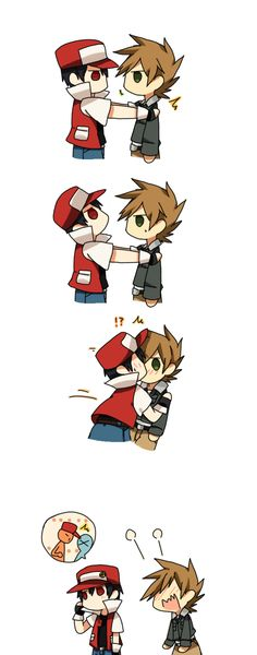 Red and Green from Pokemon Adventures