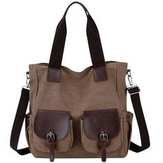 Men Women Large Capacity Canvas Multi-pocket Shoulder Bags Casual Handbags