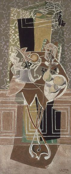 Georges Braque, The Gueridon, 1935, oil and sand on canvas, 71 x 29 inches (San Francisco Museum of Modern Art)