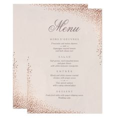 Confetti faux foil dinner menu card - wedding invitations diy cyo special idea personalize card