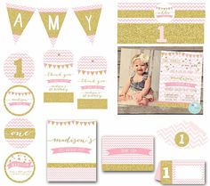 GOLD and PINK Invitation Birthday Party PACK First Birthday Sparkle Glitter Premium Chevron Banner Cupcake Toppers Favor Tags Bunting hat Girls 3rd Birthday, Pink First Birthday, Golden Birthday, First Birthday Invitations, Pink Invitations, 3rd Birthday Parties, Birthday Party Decorations, Birthday Ideas, Pink Gold Party