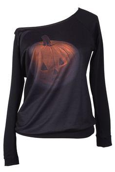 Cupshe Halloween Night Pumpkin Off the Shoulder Sweatshirt
