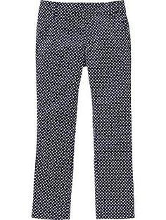 442f764a878 Girls Polka-Dot Slim Twill Pants Pixie Pants Old Navy