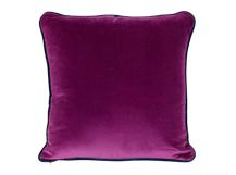 Mya Cotton Velvet Cushion 50cm x 50cm, Plum with Purple Piping