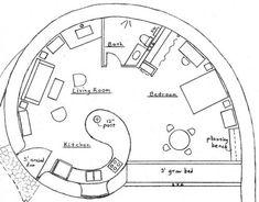 Plans, croquis, 3ds et projets - Superadobe France Cob House Plans, Small House Plans, House Floor Plans, Round House Plans, Cob Building, Green Building, Building A House, Building Ideas, Building Plans