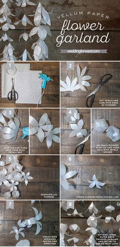 Craft a precious DIY paper garland with this lovely paper crafts tutorial. This White Vellum Paper Flower Garland is perfect for a a wedding, bridal shower, baby shower, or a special place in your home you want to display an elegant white garland in. Paper Flower Garlands, Giant Paper Flowers, Diy Flowers, Wedding Flowers, Origami Flowers, Flower Ideas, Vellum Paper, Diy Paper, Paper Crafts
