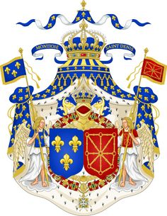 Grand Royal Coat of Arms of France.svg The House of Bourbon ruled from the time of Henri IV, the King of Navarre, coming to the throne and converting to Catholicism. Louis XIV was his grandson. Bourbon, Luis Ix, Hugues Capet, Ludwig Xiv, French Royalty, Edgar Allen Poe, Templer, French History, European History