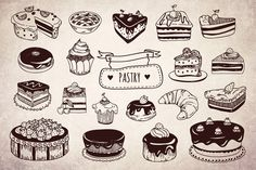 Check out Tasty hand drawn pastry by redchocolate on Creative Market