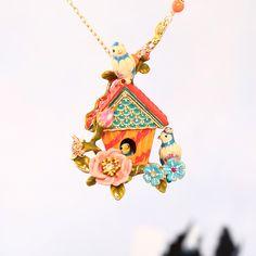 Europe And The United States Style Blue Mountain Bird House Necklace Women Enamel Glaze Sweater Necklace Hot Sale