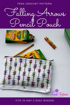 Make this zippered pencil pouch that fits in any 3-ring binder, for back to school. Easy pattern, using all single crochet stitches and the backstitch for arrow designs.