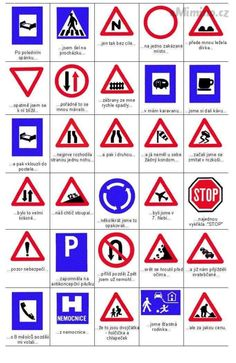 eMimino.cz - Detail fotky European Road Signs, Driving Signals, Road Safety Signs, Driving Test Tips, All Traffic Signs, Driving Theory, Drivers Ed, First Grade Worksheets, Gernal Knowledge