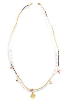 Chan Luu - White Mix Paper Bead Layering Necklace, $105.00 (http://www.chanluu.com/necklaces/white-mix-paper-bead-layering-necklace/)
