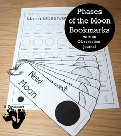 Free Phases of the Moon Bookmarks with an observation journal kids can fill out - options for both hemispheres from 3 Dinosaurs Kid Science, Earth And Space Science, Preschool Science, Science Classroom, Science Lessons, Teaching Science, Science Education, Moon Activities, Space Activities