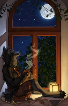 coffee by a window while watching the moon pass by? I think YES! <3
