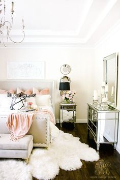 Cozy up for fall with pink! Welcoming Fall Home Tour 2017 - Glam Fall Bedroom - Randi Garrett Design