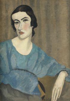 Chana Orloff (1888-1968), PORTRAIT DE MADAME SARAH LIPSKA, 1925, Huile sur toile, 64.5x45.5 cm
