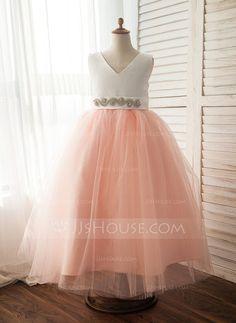 [US$ 52.99] A-Line/Princess Floor-length Flower Girl Dress - Satin/Tulle Sleeveless V-neck With Bow(s)/Rhinestone