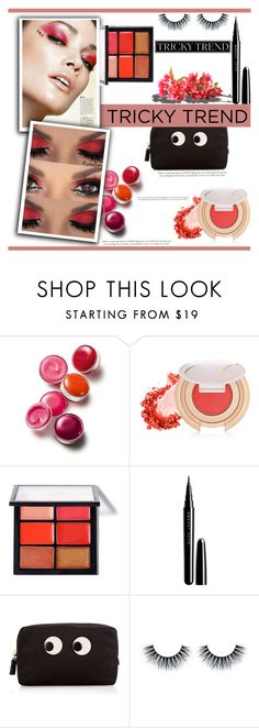 """Tricky Trend: Red Eye Makeup"" by irena123 ❤ liked on Polyvore featuring beauty, Clinique, Jane Iredale, MAC Cosmetics, Marc Jacobs and Anya Hindmarch"
