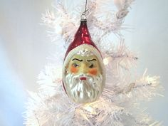 Father Christmas Santa Head Vintage Figural Glass Ornament by ThisThatAndChristmas on Etsy https://www.etsy.com/listing/100588667/father-christmas-santa-head-vintage