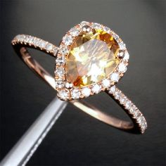 Solid 14k Rose Gold Pave Halo 1.93ct VS Citrine and Diamonds Engagement Promise Ring