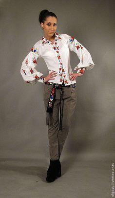 """Купить Летняя вышитая блуза вышиванка """"Маковка"""" одежда с вышивкой - цветочный, белый, женская вышиванка"""