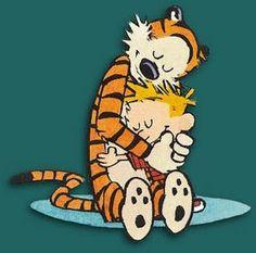 Calvin Y Hobbes, Cool Stuff, Funny Stuff, Hugs, National Hugging Day, Fun Comics, Comic Strips, Cartoon Characters, Fictional Characters