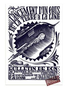 """""""De la Terre à la Lune"""" linogravure, collection Musée Jules Verne de Nantes. 2014."""