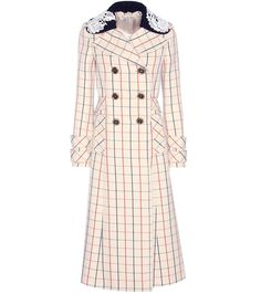 Miu Miu $ 5,000 Cream, navy and red check wool coat      Buttoned front     Detachable collar     Attached belt     Side slit pockets     Buttoned cuff tabs     Fully lined     100% virgin wool     Lace: 100% cotton     Lining: 100% viscose     Dry clean     Designer colour name: Naturale     Made in Italy