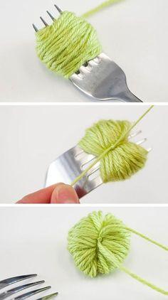 navidad Como hacer pompón pequeño con tenedor para manualidad guirnalda de navidad xmas tree