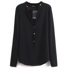 SheIn(sheinside) Black V Neck Long Sleeve Buttons Blouse (20 CAD) ❤ liked on Polyvore featuring tops, blouses, sheinside, shirts, black, long sleeve collared shirt, long sleeve blouse, long sleeve v neck shirts, chiffon blouse and black button shirt
