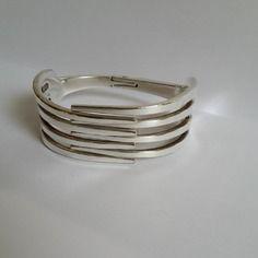 Bracelet fourchette, articulé, double fourchettes , bijoux original, dents droites,