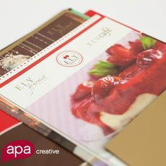 Collateral design for a delicious pastry shop. This brand says sweet, fruity and yummy!  What does your brand say?  www.apacreative.com   #APACreative #AdvertisingAgency #BrandingAgency #Print #DesignAgency #smARTCommunications #Brand #ELYReposteria #Pastry #Sweet #Colors #Communications #SocialMedia #Marketing