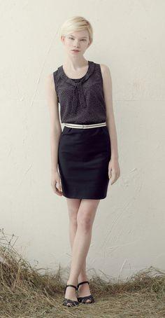 MINNIE Black/White dots: Sleeveless blouse, rounded neckline, necktie.  NANETTE Black: High-waisted pencil skirt, inverted pleats, back welt pockets.  Betina Lou Spring-Summer 2013
