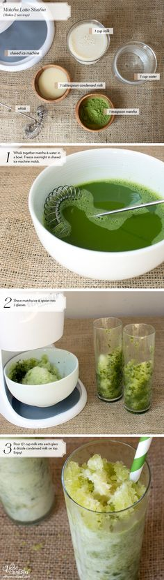 These matcha latte ice cubes are perfect for the summer! Make a batch and just pop them out of the freezer whenever you want a quick matcha latte. All you need to do is top these ice cubes with milk for a super refreshing and cooling drink! Chai, Homemade Slushies, Matcha Green Tea Latte, Matcha Tea Powder, Green Tea Ice Cream, Green Tea Recipes, Sweet Recipes, Slushie Recipe, Green Tea Powder