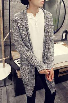 Pocket Design Loose Fit Collarless Long Sleeve Stylish Polyester Cardigan For Men