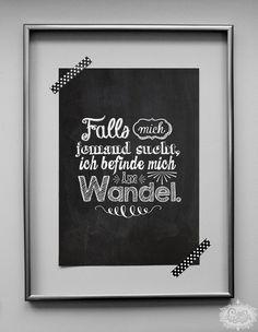 'Im Wandel' chalkboard A4 Typo Druck von cute as a button auf DaWanda.com