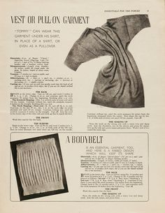 'Vest or pull-on garment and a bodybelt'  Pattern for a vest and bodybelt  From Essentials for the Forces  Jaeger Handknit  1940s