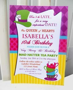 Alice in Wonderland girl Birthday Party invitations! See more party planning ideas at CatchMyParty.com!