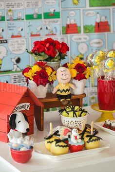 Snoopy themed birthday party v Snoopy Birthday, Snoopy Party, Baby First Birthday, 4th Birthday Parties, Themed Parties, Birthday Ideas, Baby Snoopy, Peanut Baby Shower, Party Themes For Boys