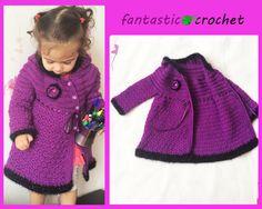 كروشية بلوفر او جاكيت اطفال How to Crochet Child's Cardigan