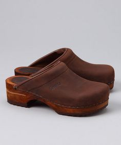 Take a look at this Antique Brown Wood Chrissy Open Clog - Kids by Sanita Clogs on #zulily today!