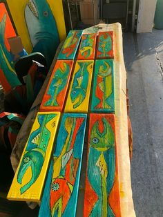 Keith the Timber Fish wooden fish painted wooden fish fish art painted fish beach art island art sea life art wooden art fishing Painting Wooden Furniture, Painting On Wood, Antique Furniture, Rustic Furniture, Pallet Painting, Furniture Layout, Modern Furniture, Furniture Design, Outdoor Furniture
